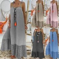 summer loose spaghetti strap maxi slip beach dress long lace lady vestidos solid large sundress sleeveless backless linen dress