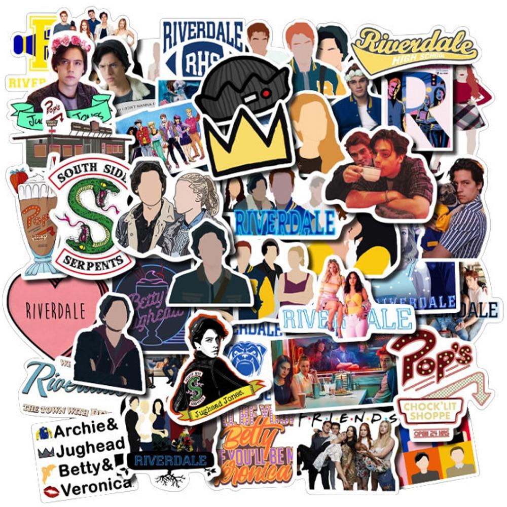 50 шт., наклейки для ТВ-шоу, ривердэйла, для скрапбукинга, скейтборда, гитары, чемодана, ноутбука, телефона, холодильника, наклейки