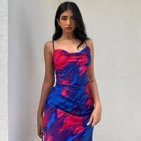 2021 summer womens new fashion sexy sling print pile neck beach party sling halter mid length dress womens dress