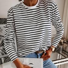 Camiseta informal a rayas blancas y negras para mujer, Jersey holgado de manga larga con cuello redondo, camisa coreana a la moda, 2021
