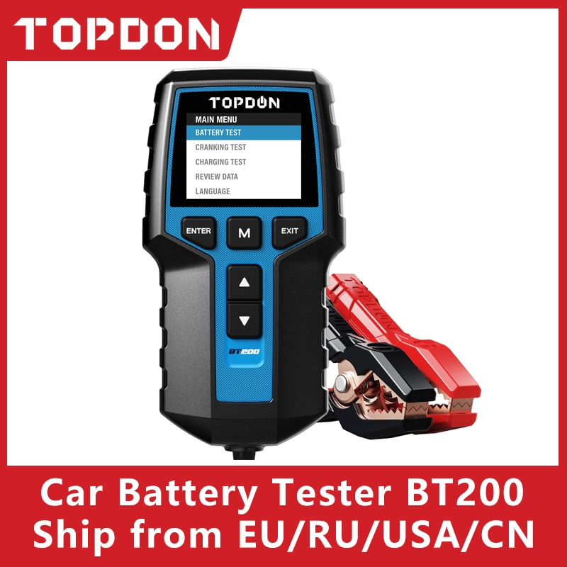 TOPDON BT200 12V Car Battery Tester Digital Automotive Diagnostic Battery Tester Analyzer Vehicle Cranking Charging Scanner Tool duoyi dy2015 12v car battery system tester capacity maximum electronic load battery cranking charge test digital diagnostic tool