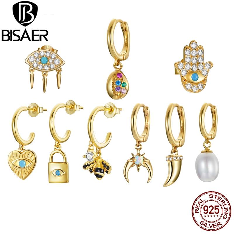 BISAER 1PC Gold Lucky Eye  Hand Rock Little Bee 925 sterling silver Gold Color Circle Earrings Ear Clips Hoop Earrings for women