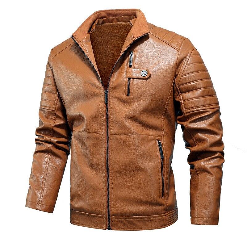 2020 Casual Men Motorcycle Jackets Warm Thick Fleece Leather Jacket Winter New Male Biker Vintage Warm PU Leather Windbreak Coat