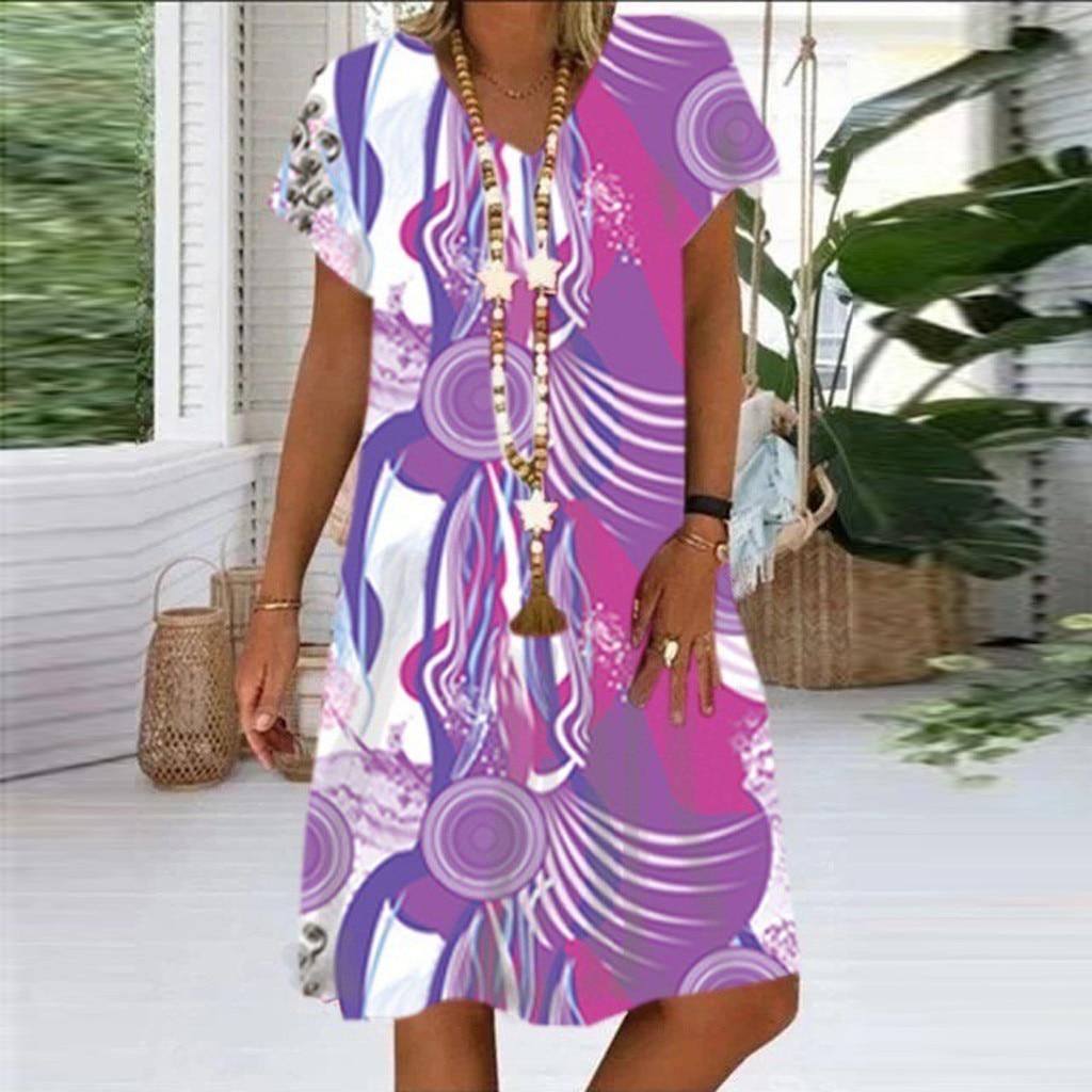 Summer Women Floral Long Sleeve Dress Holiday Beach Shirt Dress Ladies Print Mini Dress Plus Size S-5XL Casual Colorful Tie-dye