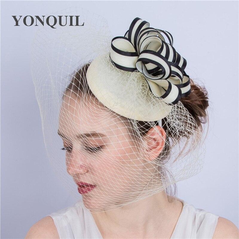 Damas Elegante razas boda Sombreros Tocados tocado de novia con Veilling fiesta...