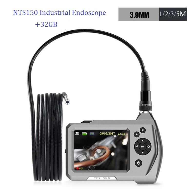 TESLONG NTS150 3.9mm Lens yılan tüp kamera 16GB 1m 3M otomotiv endüstrisi monitör muayene HD endoskop lcd ekran 6 LED