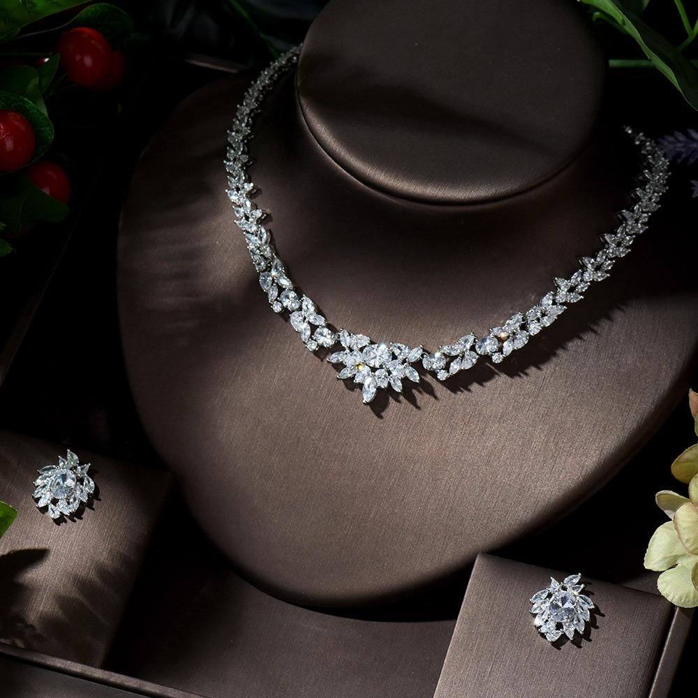 HIBRIDE-Conjunto de collar y pendientes de circonia de alta calidad, joyería para...