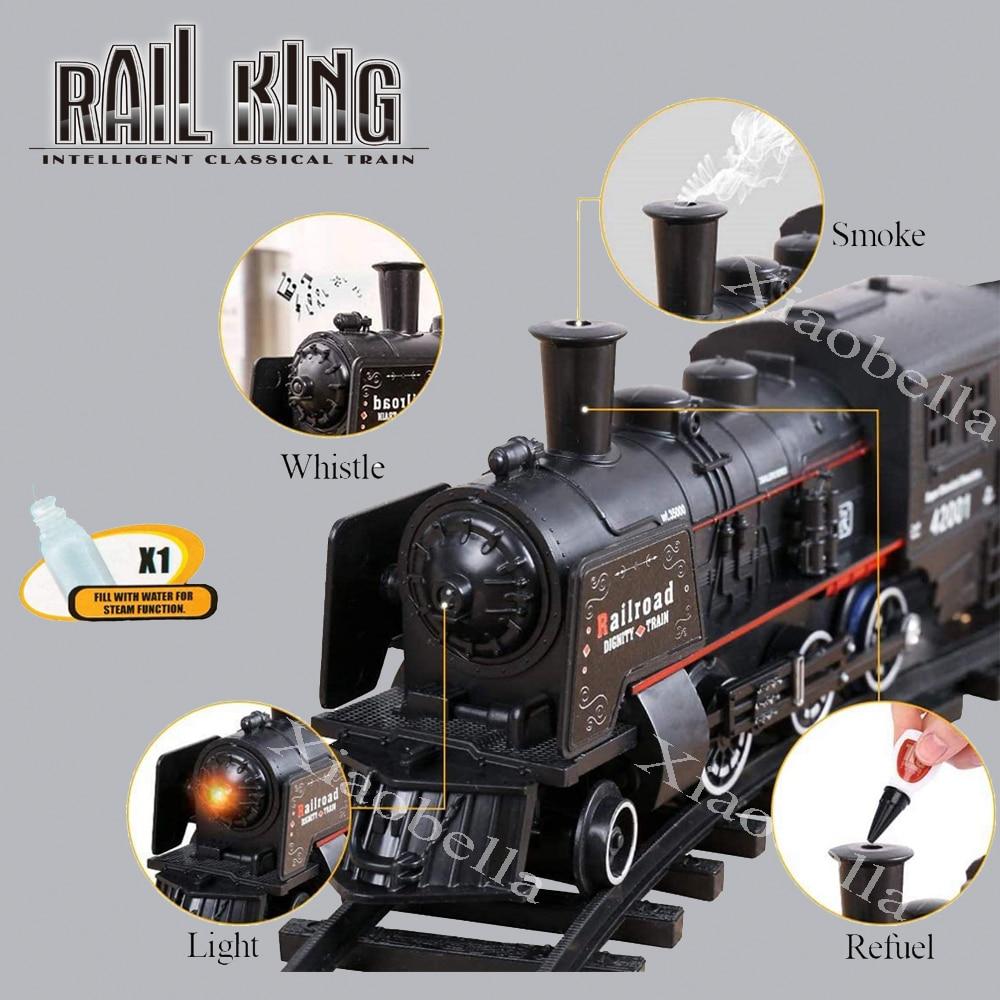 B/O Railway Classical Freight Train Set Passenger Water Steam Locomotive Playset with Smoke Simulation Model Electric Train Toys duskey rinker sherri steam train dream train