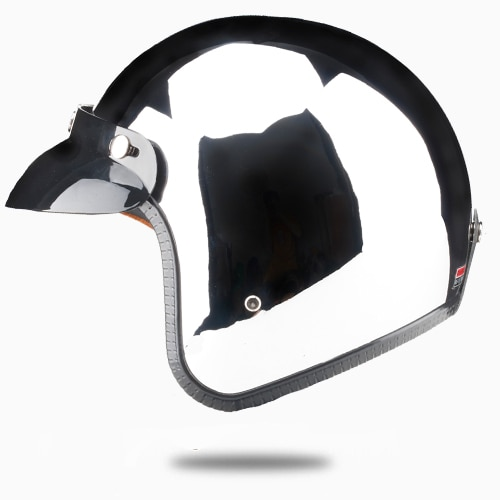open face motorcycle helmet vintage kask motocycle capacete chrome sliver retro casque Mirror pilot