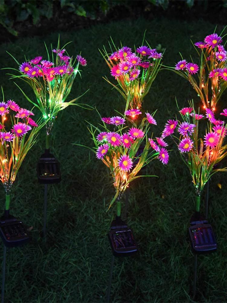 Garden Decoration Led Solar Chrysanthemum Lamp Outdoor Colorful Light Small Flower Landscape Courtyard Lawn