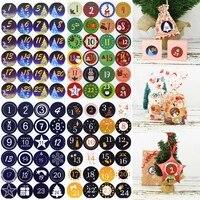 1pcs 4 5cm merry christmas advent calendar number paper stickers diy scrapbooking round christmas gift sticker labels xmas decor