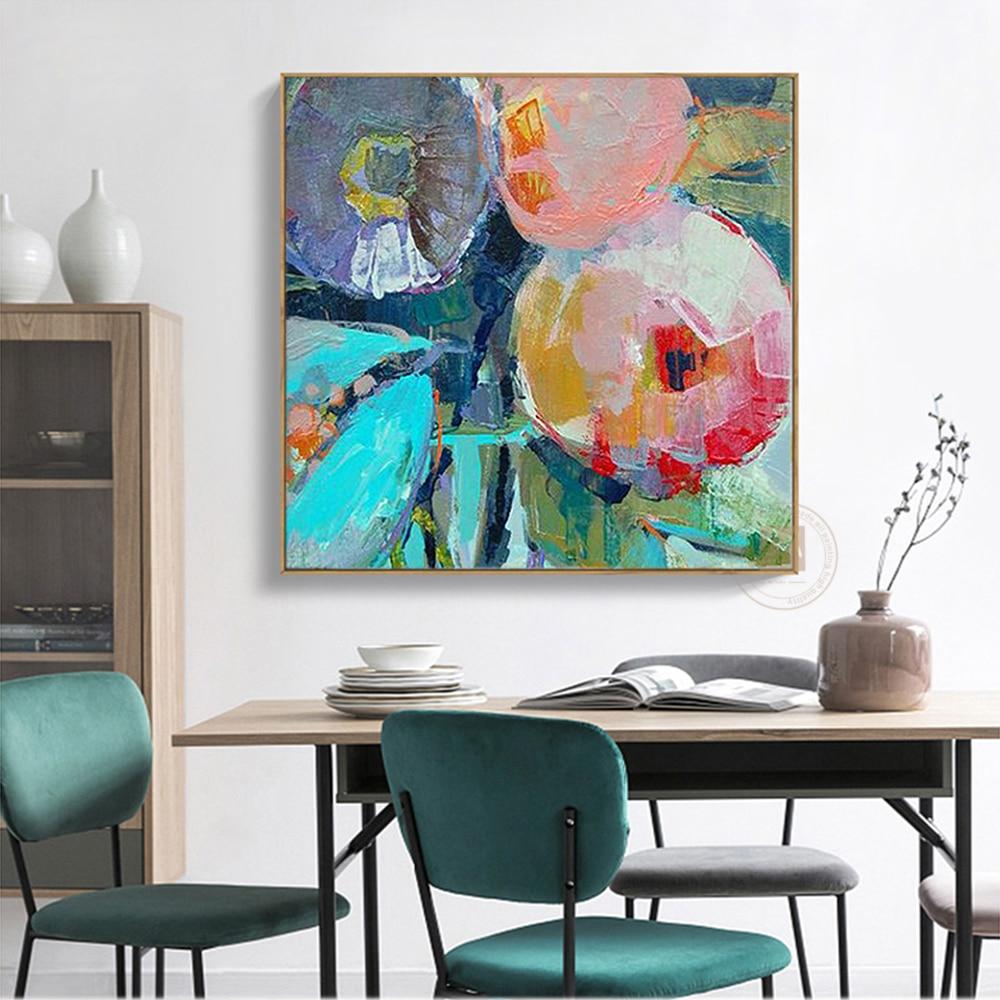 Pintura moderna grande de oleo flores, lienzo, arte de pared, pintura al...