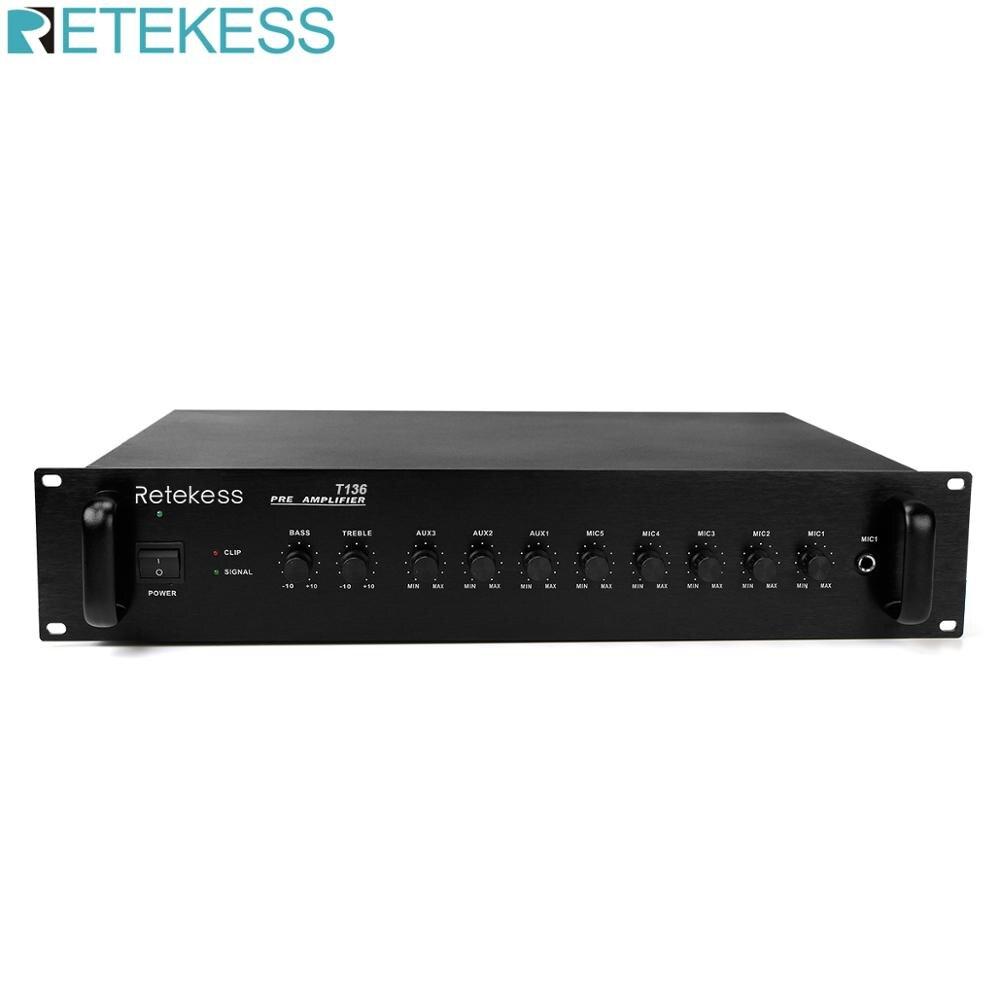 Retekess T136 10 Channels Front Audio Amplifier for Public Campus Broadcasting System