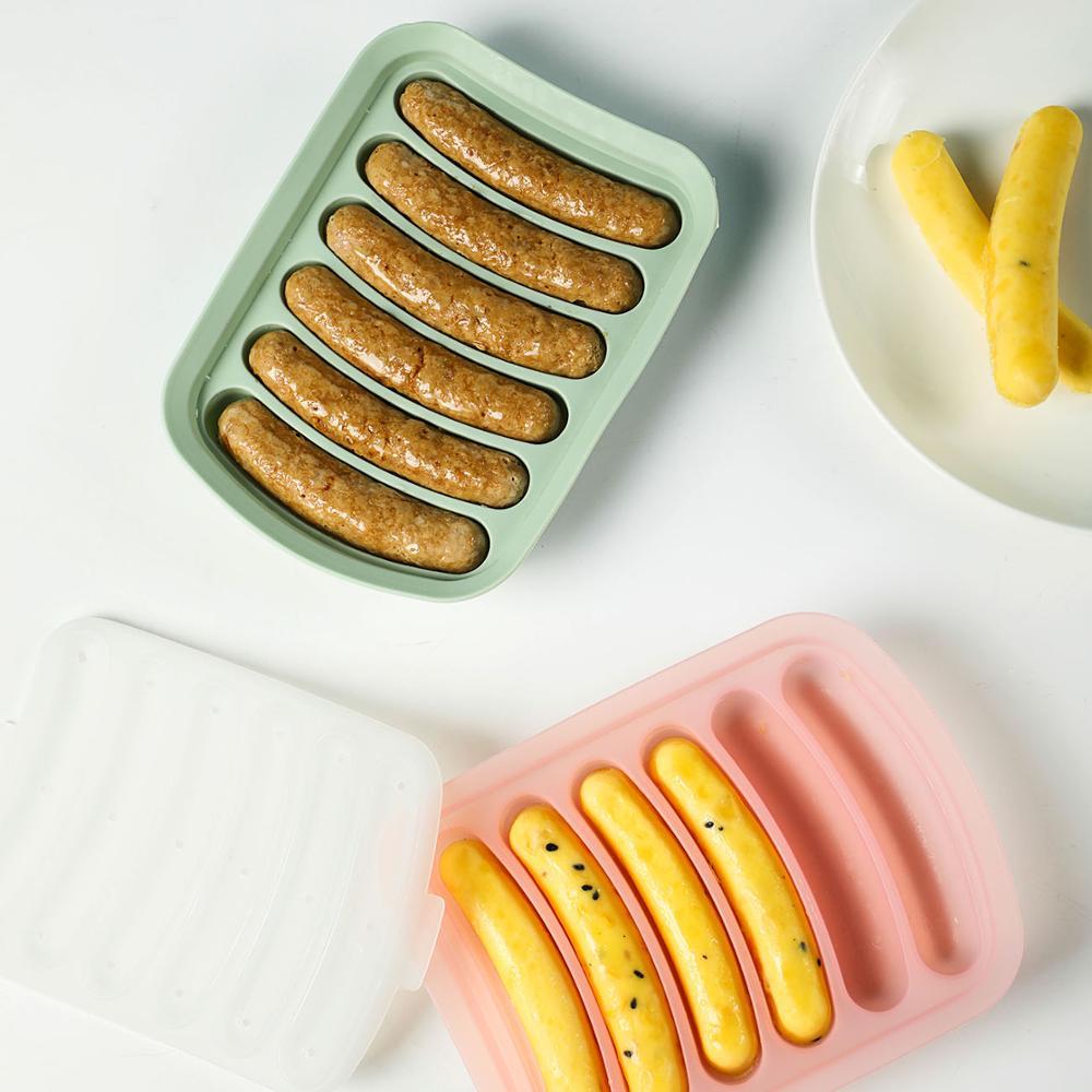 1pc saucisse fabricant Silicone moule avec 6 cavité Hot Dog Maker bricolage à la main haute température cuisson moule outils de cuisson