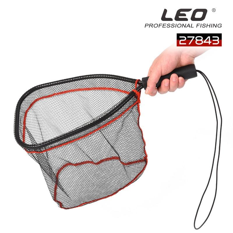 LEO Fly Fishing Net aleación de aluminio boca Nylon malla goma mango ligero portátil Dip Net aparejos herramientas