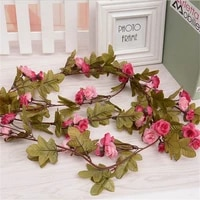 240cm artificial simulation silk small rose flower vine rattan home wedding party decoration wall hanging garland floral