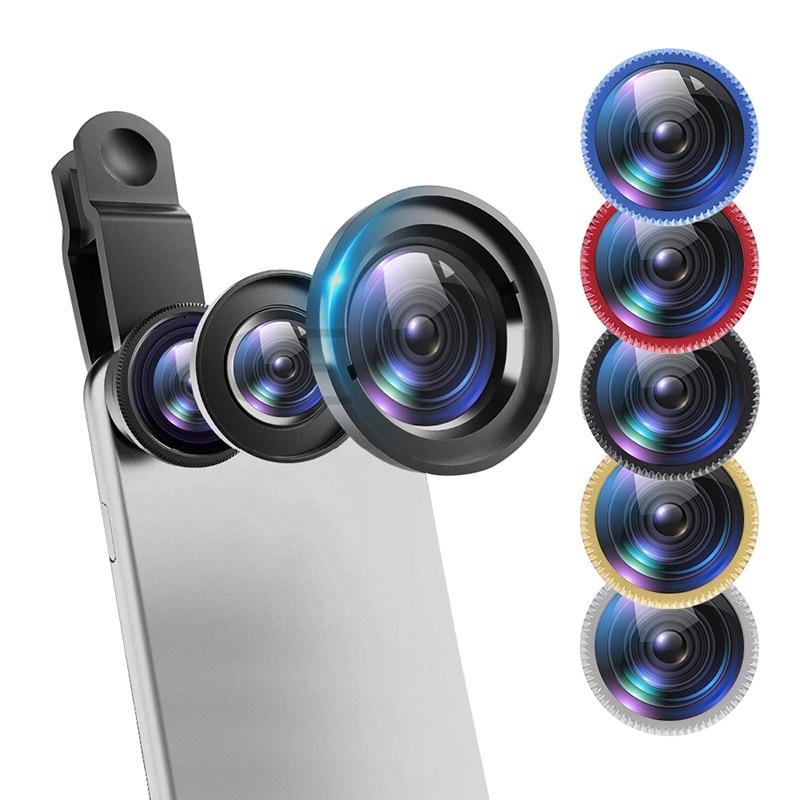Fisheye Lens 3 In 1 Lenses Wide Angle Lens For IPhone Xiaomi Huawei Lenovo Macro Lenses Camera Kits