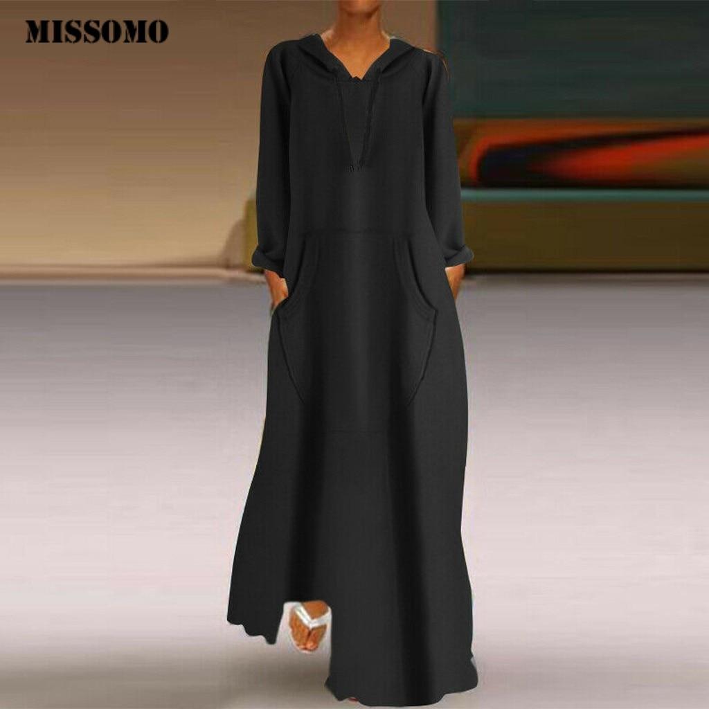 MISSOMO Hooded Dress women dress autumn winter Casual Plus Size Pockets maxi dress long sleeve Loose vestidos dresses woman 10