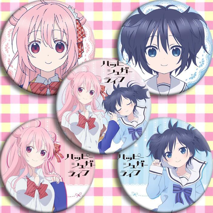 5pcs/1lot Anime Happy Sugar Life Matsuzaka Satou Koube Shio Hida Shouko Figure Badges Round Brooch Pin Gifts Kids Toy