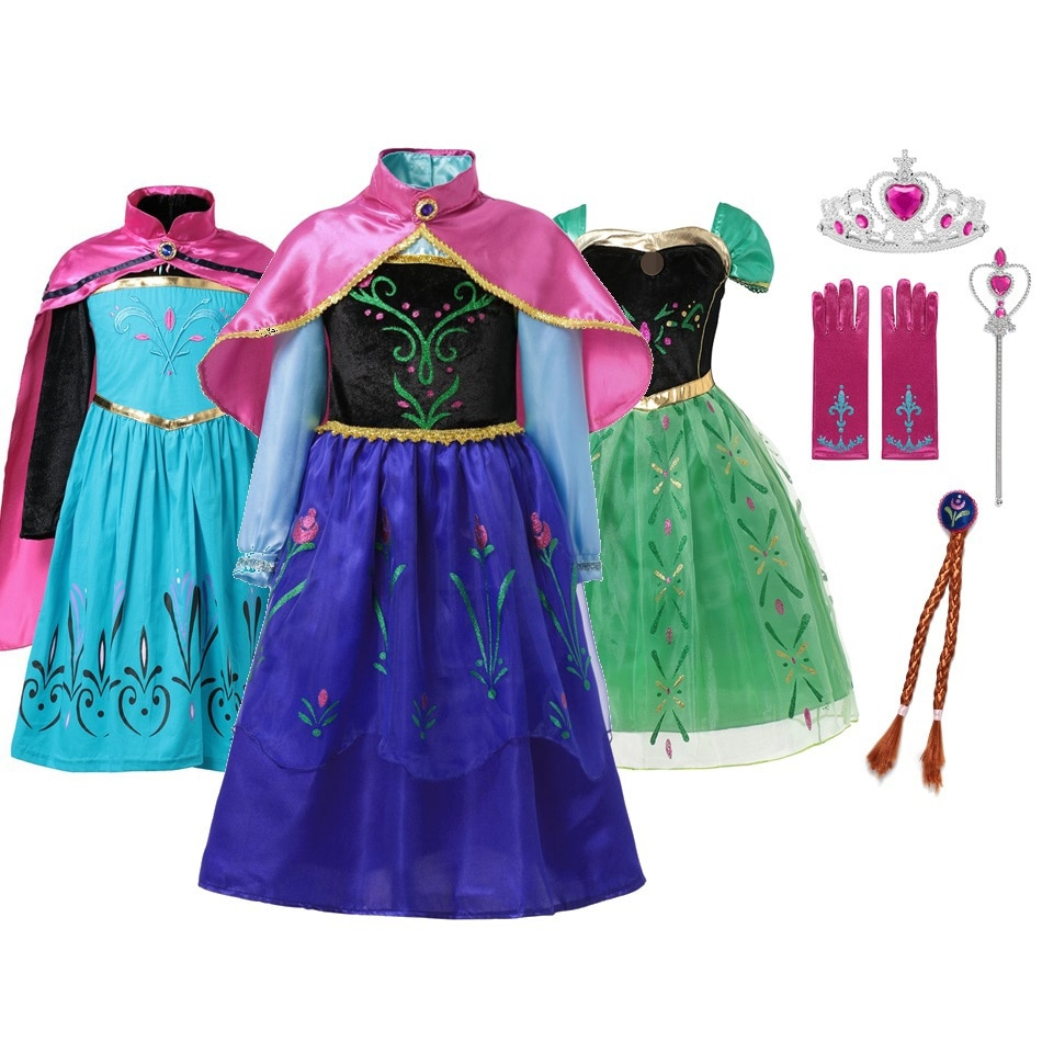 MUABABY Anna Elsa Dress Up Fancy Clothes for Girl Floral Birthday Party Gown Children Kids Snowflake