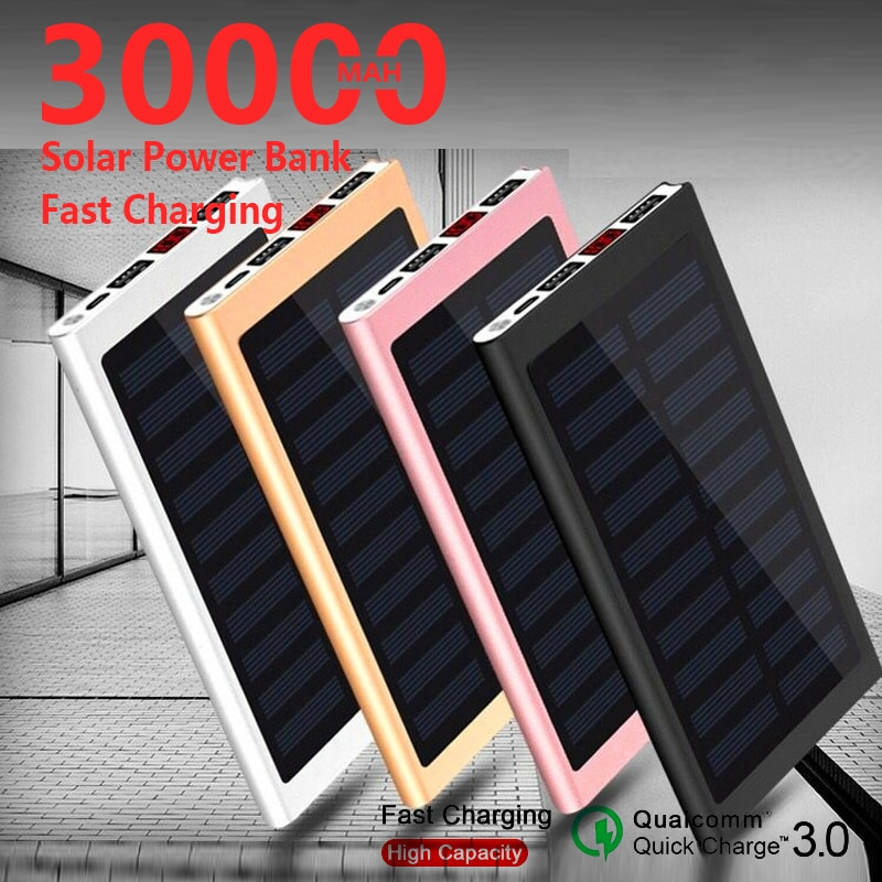30000mah banco de energia solar bateria externa 2 usb powerbank portátil do telefone móvel carregador solar para xiaomi mi samsung iphone x 11