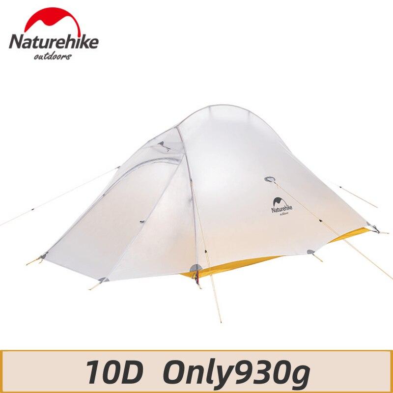Naturehike mejora 10D Nylon silicona nube Up 2 tienda de campaña 1-2 Persona ultraligera impermeable portátil senderismo con estera gratis