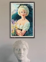 Affiche en soie personnalisee  belle image classique Vintage Pin-up Girl  cadeau de noel  decoration murale pour la maison  1068