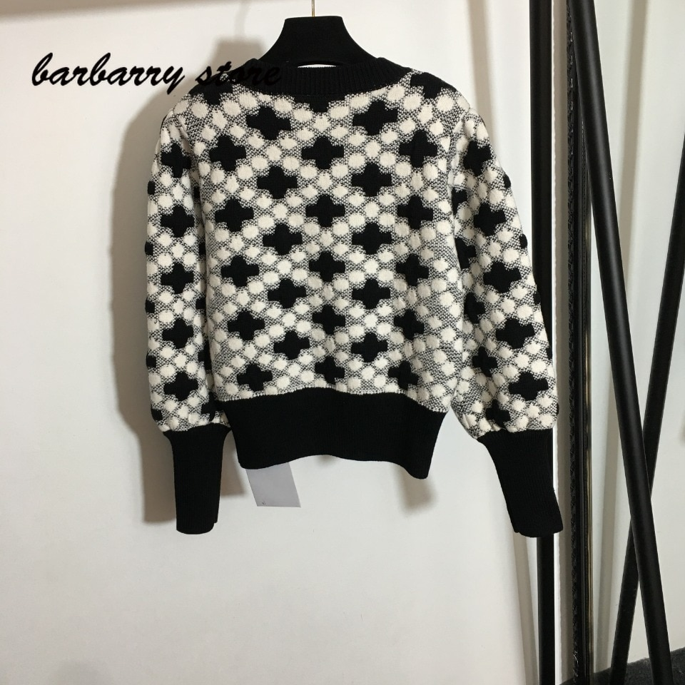 luxury brand color blocking pattern printing fashion women's top temperament round neck versatile long sleeve knitted pullover enlarge