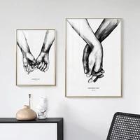 Affiche nordique en noir et blanc pour Couple  amour doux  peinture sur toile murale  minimaliste  Alphabet  decoration de maison Unique
