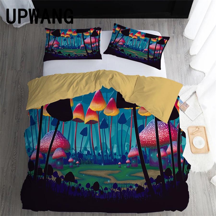 UPWANG 3D Bedding Set Dream Mushroom Printed Duvet/Quilt Cover Set Bedcloth with Pillowcase Bed Set Home Textiles
