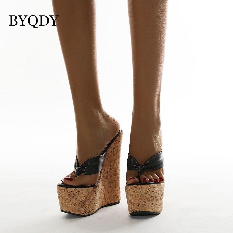 BYQDY-حذاء نسائي بكعب عالٍ 18 سنتيمتر ، حذاء بسيط بمقدمة مفتوحة ، كعب عالي إسفين مريح ، صيفي