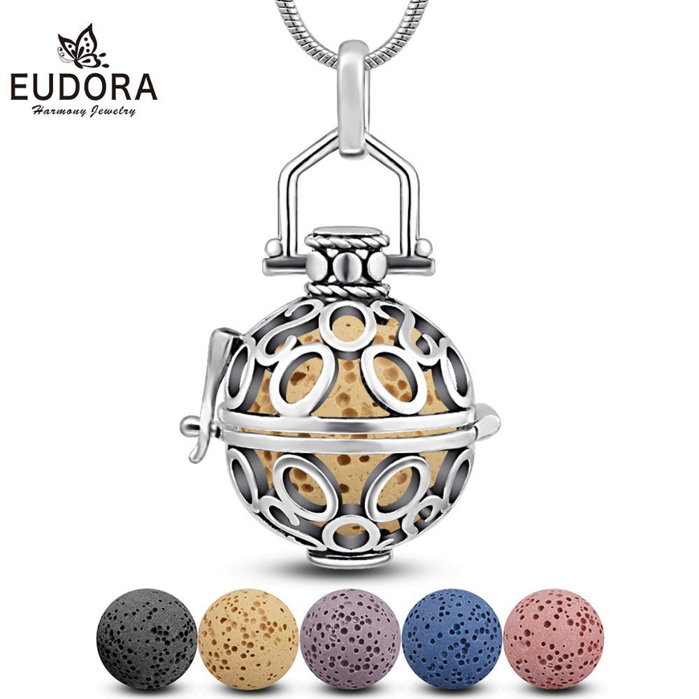 Eudora pingente redondo de cobre de 18mm, medalhão com pingente perfumado de óleo essencial, aromaterapia, colar vintage com caixa h48