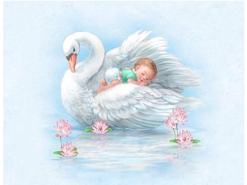 "100% Full 5D diy Daimond Painting 3D diamond painting Decor Gift Full Round Rhinestones diamant painting embroidery ""Baby&swan"""