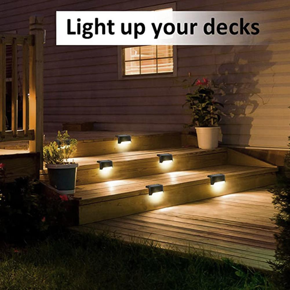 White Light Solar Stair Light Outdoor Garden Pathway Fence Lamp Stairs Step A5U7