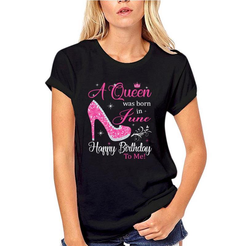 Bonita camiseta sasuke con diseño de una reina nacida en junio, feliz cumpleaños, para mujer, simpsons, talle grande de camiseta s ~ 5xL natural