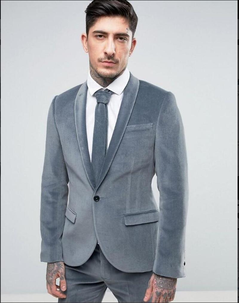Handsome Velveteen Groomsmen Shawl Lapel Groom Tuxedos  Men Suits Wedding/Prom/Dinner Best Blazer(Jacket+Pants+Tie) 113