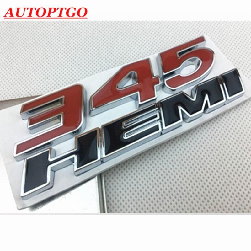 Metal 3D carta 345 Hemi 345 Hemi emblema insignia Logo etiqueta del guardabarros pegatina para Dodge Ram Challenger cargador para Chrysler 300C