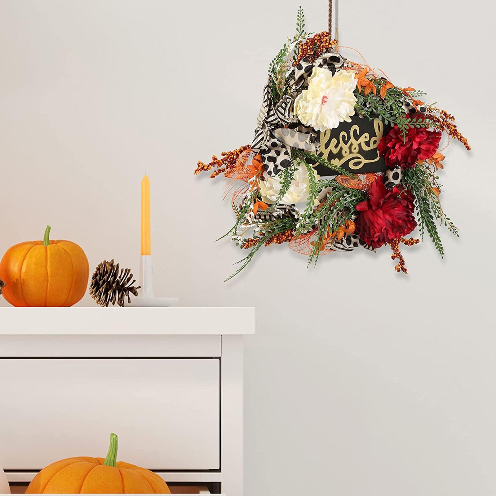 Guirnalda De Navidad con tarjeta De bienvenida para puerta, plantas artificiales colgantes...