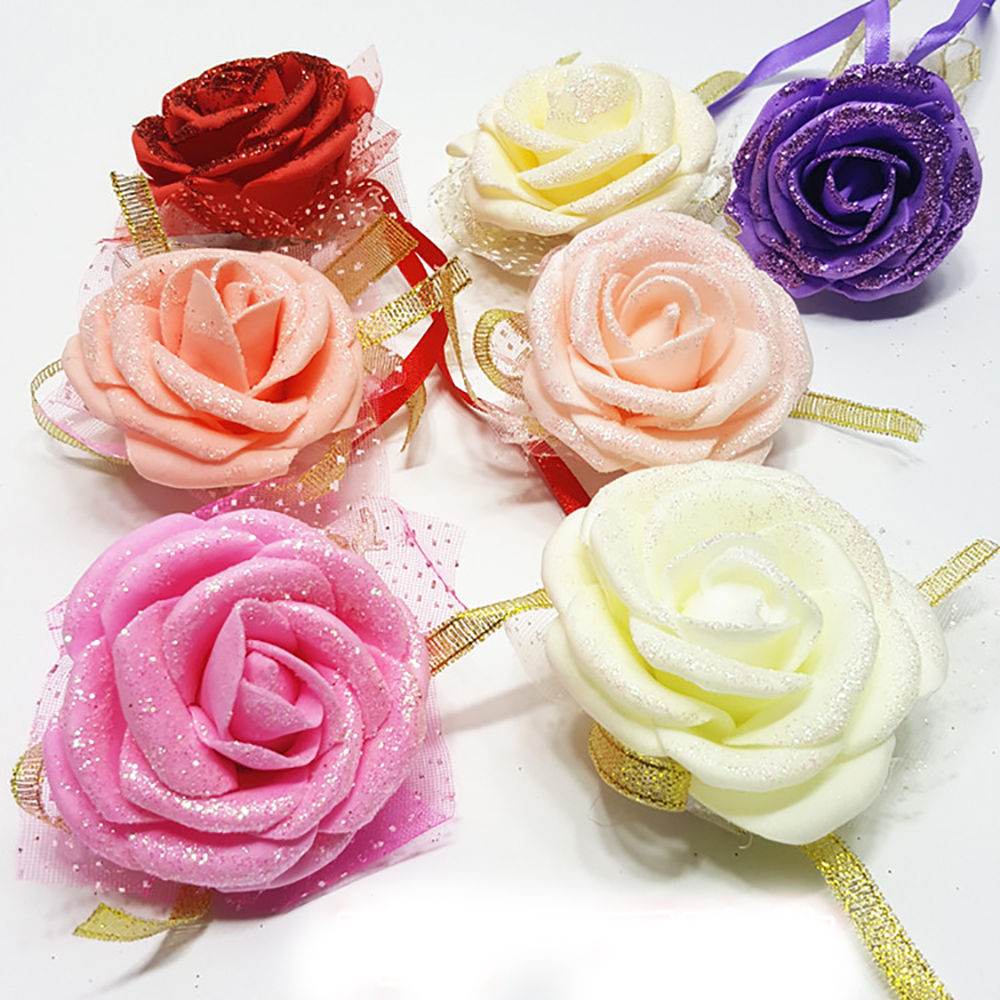AliExpress - 5pc/ lot Rose Wrist Corsage Ribbon Flower Wedding Party Bridesmaid Hand Crafted Flower Engagement party Decorations