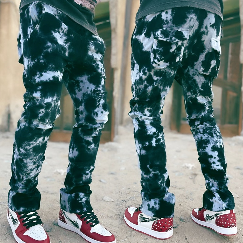2021 горячая Распродажа галстук-окрашенные джинсы мужские облегающие мужские джинсы уличной моды с эффектом потертости в стиле «хип-хоп» Пов...