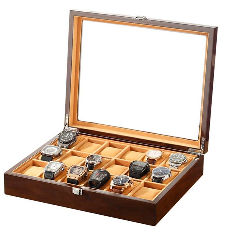3 6 12 18 Slots Watch Boxes And Packaging Organizer Brown For Men Women Mechanical Watches Storage J