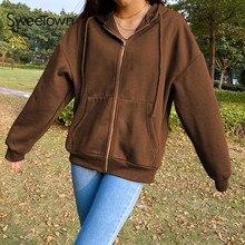 Sweetown Brown Y2K Aesthetic Hoodies Women Vintage Zip Up Sweatshirt Winter Jacket Clothes Pockets L