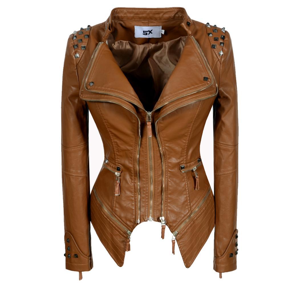 2020 HOT Gothic PU Faux Leather Jacket zipper  Women rivet Winter Autumn Motorcycle snake print Coat studs slim Casual Outerwear enlarge