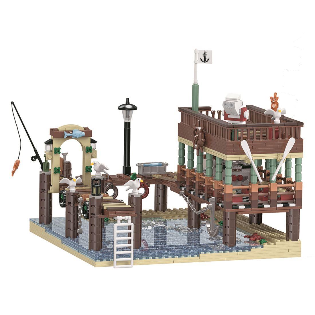 1394 pçs moc pequena partícula 3d vista de rua casa de peixes pier blocos de construção diy montagem kit construção & construção brinquedos