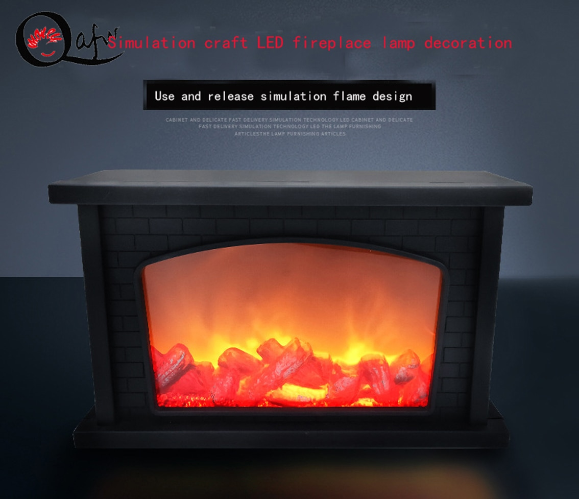 USB powered portable simulation fireplace candle holder flame lamp night light fireplace lantern home decoration