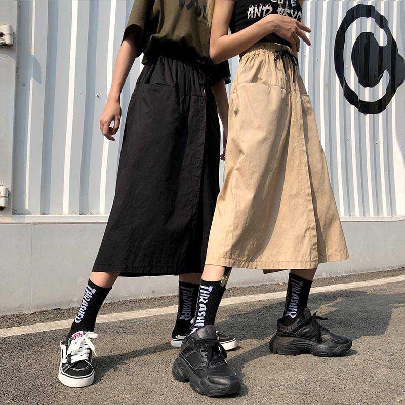 NiceMix Harajuku, faldas de pierna ancha, Pantalones Capri para mujer, Pantalones de cintura alta, ropa de calle, Pantalones Cargo coreanos de verano 2020, Pantalones para mujer