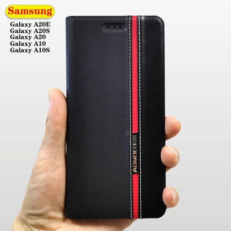 Funda de cuero tipo cartera con tapa para Samsung Galaxy A20E A10 A20S A20 A10S Note 10 lite 9, funda de teléfono de bolsillo para tarjetas de visita a la moda