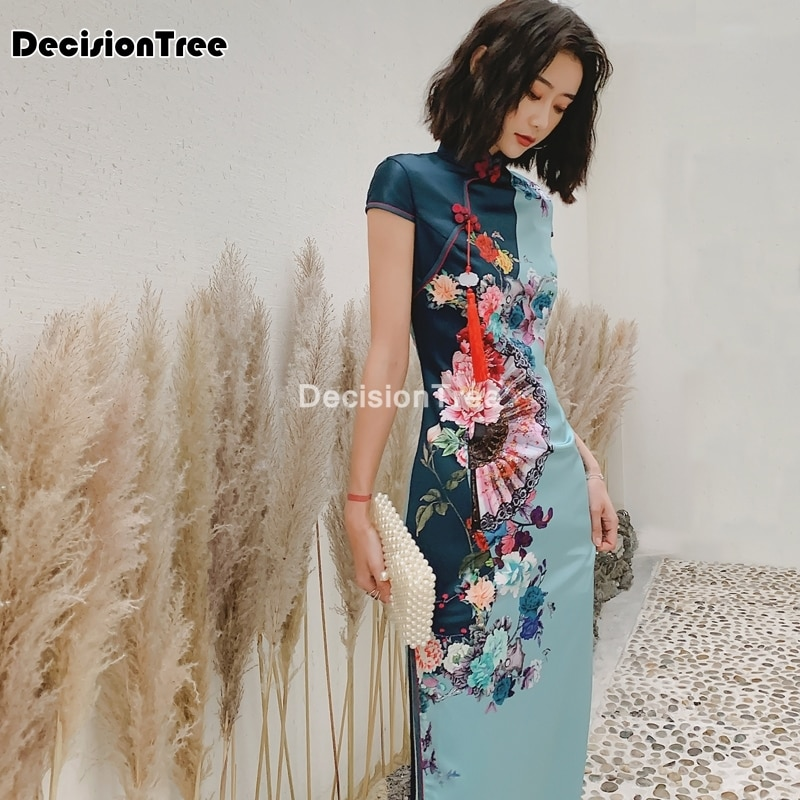 تشيباو-فستان طويل من الحرير على الطراز الشرقي للنساء ، قماش مطاطي ، شيونغسام ، شوكة عالية ، فستان صيني تقليدي ، 2021