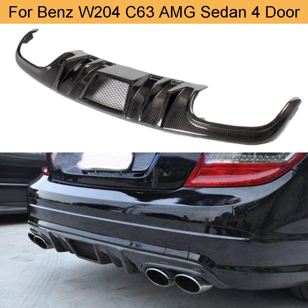 C classe de fibra de carbono traseiro difusor spoiler para mercedes benz w204 c63 amg sedan 4 porta 2008-2011 difusor traseiro lábio