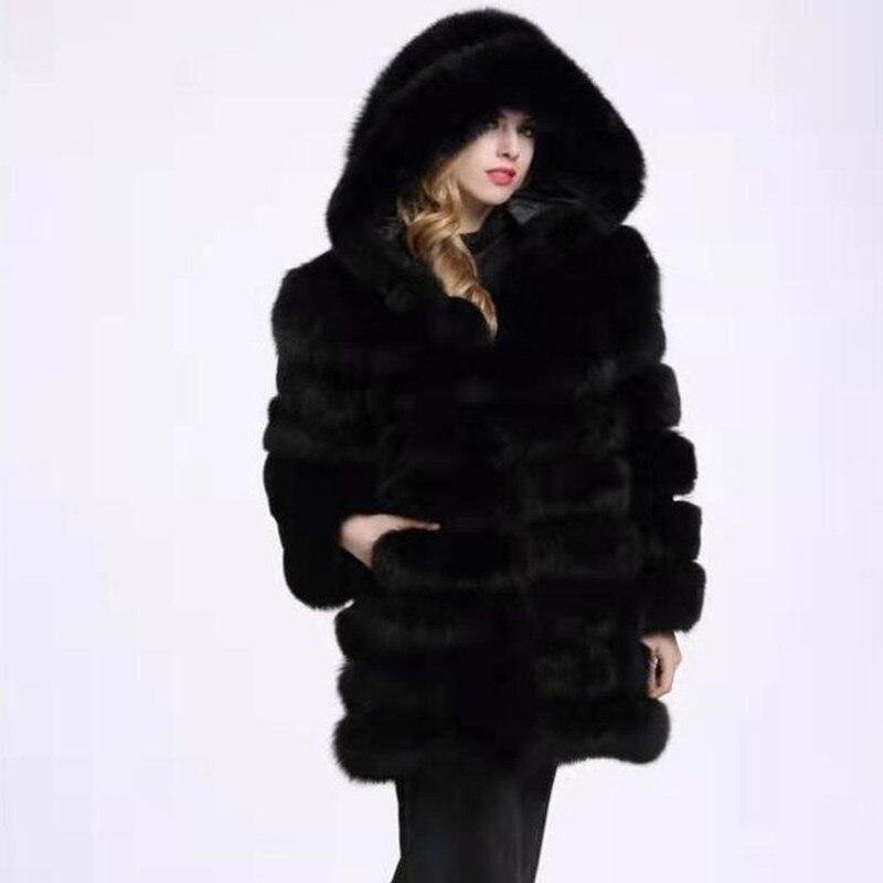 2021 Real Fox fur Hood coat Black Vest Sleeve Detachable Transform Vest Fashion Thick Warm Coat Jacket Fur Vests Women Hooded 01